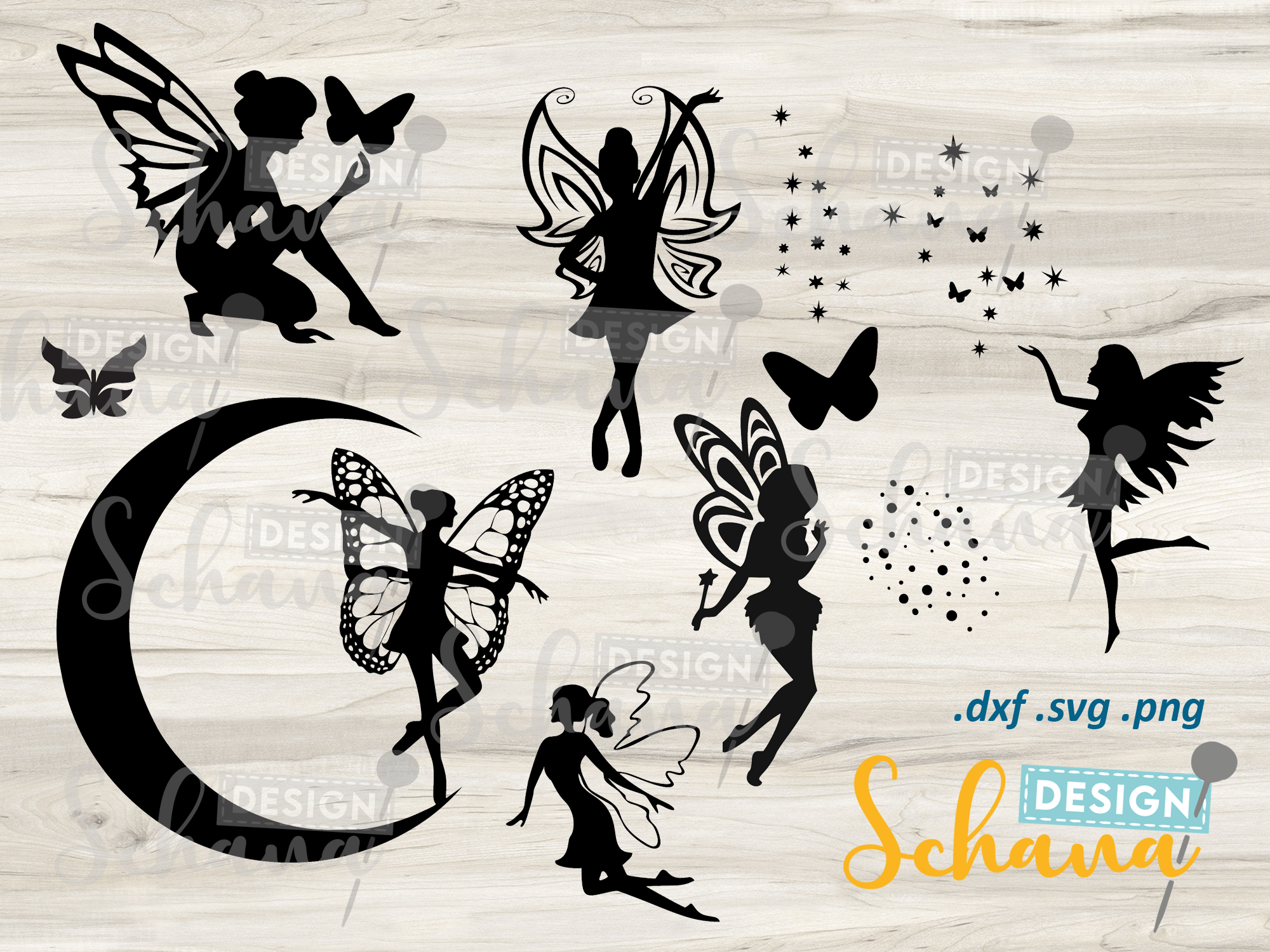 Fairy Pixie Set of 6 with Deco... SVG File