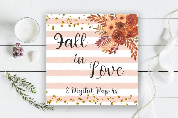 Fall in Love Background Digital Papers Graphic Backgrounds By PinkPearly