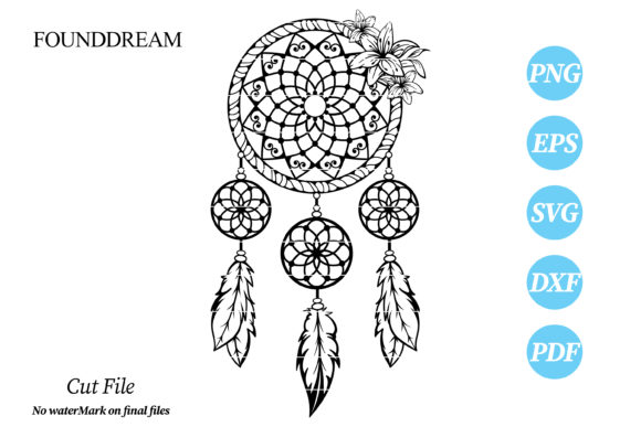 Print on Demand: Floral Dream Catcher Cut File Graphic Crafts By FounDream