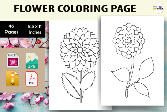 Print on Demand: Flower Coloring Page for Kids-KDP Graphic Coloring Pages & Books Kids By Sei Ripan