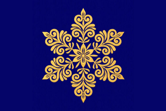 Gold Snowflake Holidays & Celebrations Embroidery Design By DNE embroidery