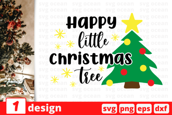Happy Little Christmas Tree Graphic Crafts By SvgOcean