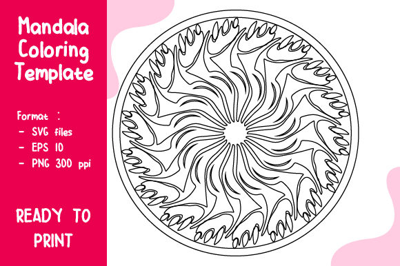 Mandala Coloring Template Graphic Coloring Pages & Books Adults By Rahayu Studio