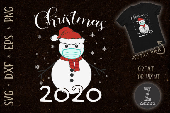 Print on Demand: Merry Christmas 2020 Snowman in Mask Graphic Print Templates By Zemira
