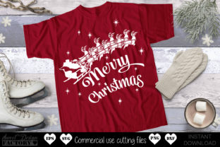 Print on Demand: Merry Christmas, Santa Sleigh Graphic Crafts By SweetDesignFactory