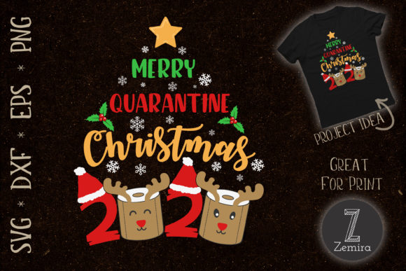 Print on Demand: Merry Quarantine Christmas 2020 Graphic Print Templates By Zemira