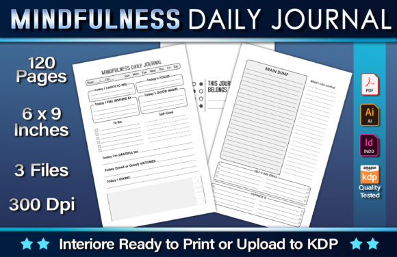 Mindfulness Daily Journal Graphic KDP Interiors By okdecoconcept