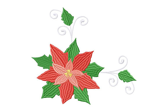 Print on Demand: Poinsettia Ornament for the New Year Christmas Embroidery Design By EmbArt
