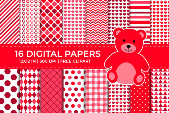 Red Valentine Digital Papers Set Graphic Backgrounds By TitaTips