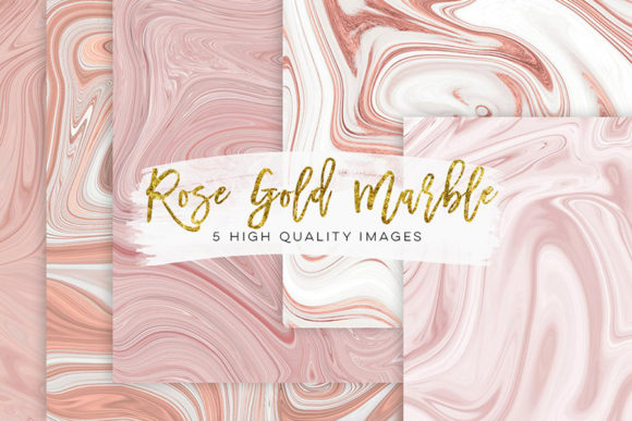 Print on Demand: Rose Gold Paper Rose Gold Marbel Clipart Graphic Backgrounds By SunflowerLove