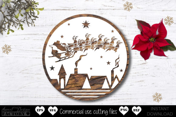 Print on Demand: Santa Sleigh Graphic Crafts By SweetDesignFactory