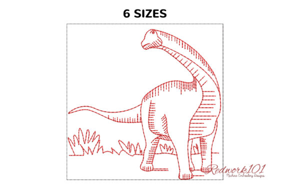Sauropods Dinosaurs Bluework Dinosaurs Embroidery Design By Redwork101