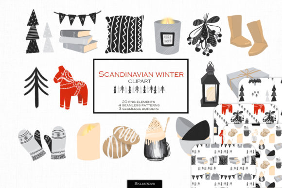 Scandinavian Winter Clipart Graphic Illustrations By HappyWatercolorShop