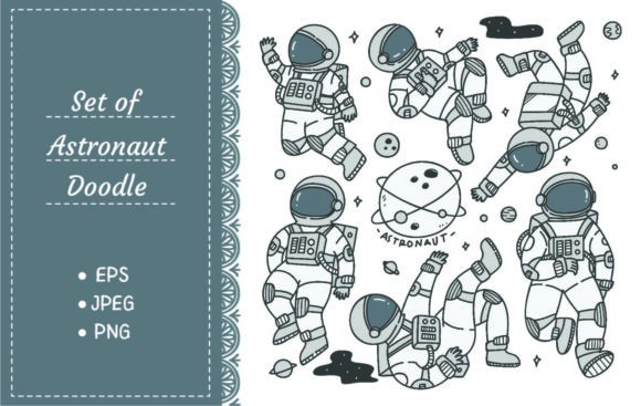 Set of Astronaut in Different Poses Graphic Illustrations By Big Barn Doodles