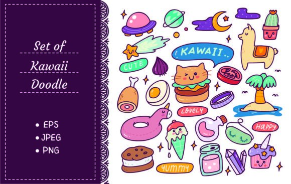 Set of Kawaii Icons, Cute Sticker Set Graphic Illustrations By Big Barn Doodles