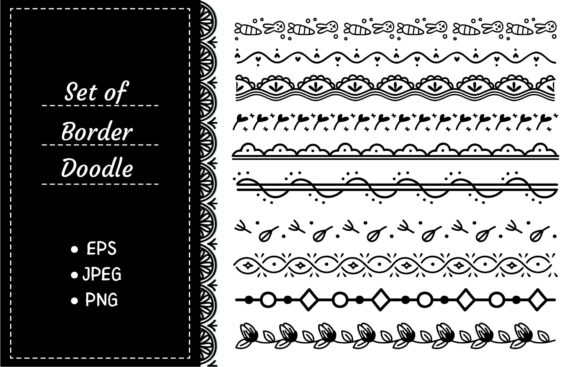 Set of Cute Hand Drawn Border Graphic Illustrations By Big Barn Doodles