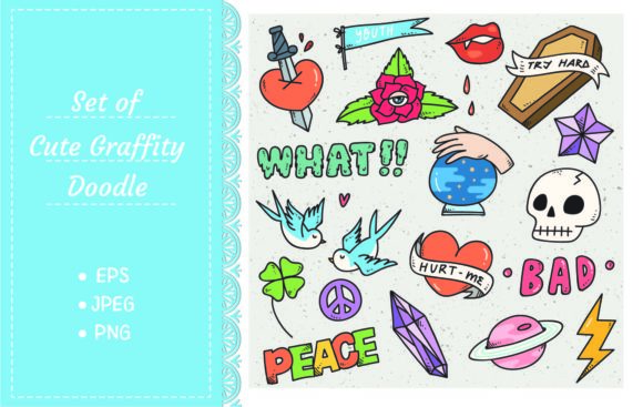 Set of Cute Sticker, Graffiti Doodle Graphic Illustrations By Big Barn Doodles