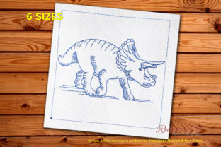 Triceratops Dinosaurs Machine Dinosaurs Embroidery Design By Redwork101