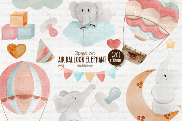 Print on Demand: Watercolor Air Balloon Elephant Clipart Graphic Illustrations By Mutchi Design