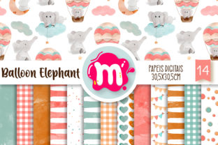 Watercolor Air Balloon Elephant Papers Graphic Backgrounds By Mutchi Design