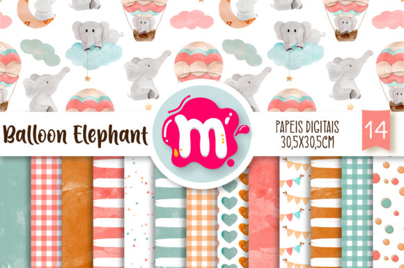 Print on Demand: Watercolor Air Balloon Elephant Papers Graphic Backgrounds By Mutchi Design