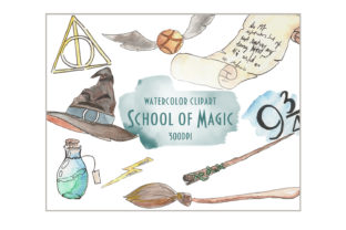 Watercolor Magic School Clipart Graphic Illustrations By SleptArt