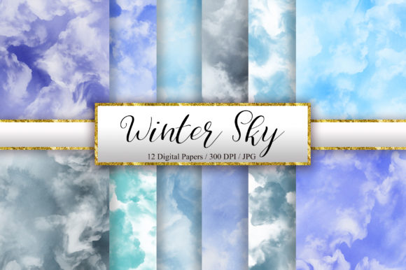 Winter Sky Watercolor Digital Papers Graphic Backgrounds By PinkPearly