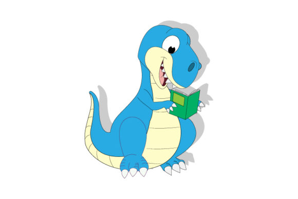 Print on Demand: Cute Dinosaur Reading a Book Graphic Illustrations By curutdesign