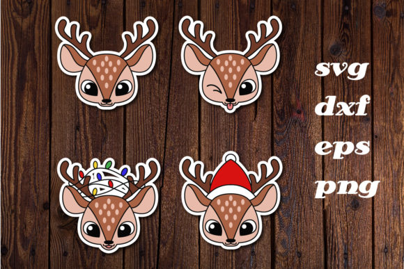 Print on Demand: Deer Cute Christmas, Sticker, Cut File Graphic Print Templates By dadan_pm