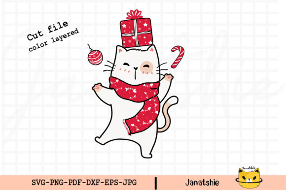 Happy Cat in Red Scarf Clip Art Graphic Illustrations By Janatshie