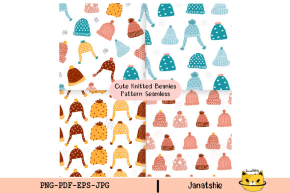 Set of Pastel Knitted Beanie Winter Hat Graphic Illustrations By Janatshie