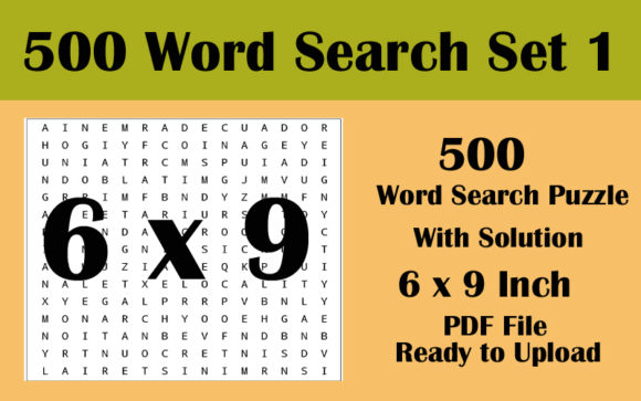6x9 Inch 500 Word Search Puzzle Volume 1 Graphic KDP Interiors By Seven Elephant