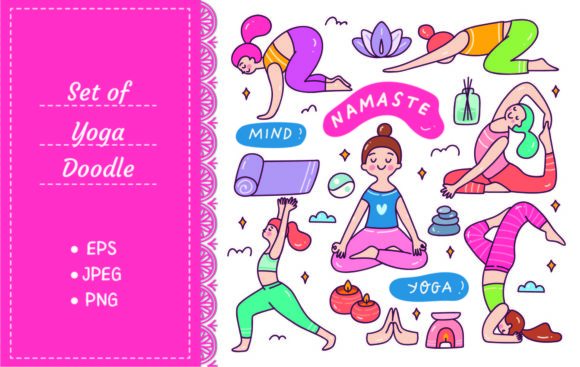 Cartoon Doodle of Woman Doing Yoga Graphic Illustrations By Big Barn Doodles
