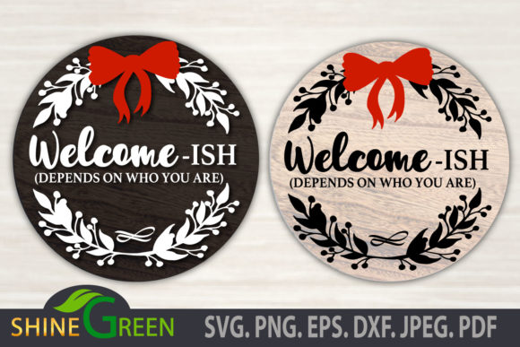 Print on Demand: Christmas Halloween Welcome-ish Round Graphic Crafts By ShineGreenArt