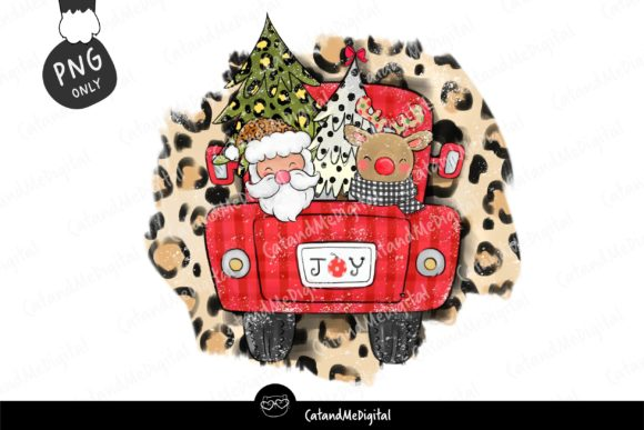 Christmas Santa Red Truck Sublimation. Graphic Illustrations By CatAndMe