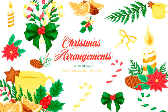 Print on Demand: Christmas Arrangements Clipart Graphic Illustrations By sunnywillowdesign