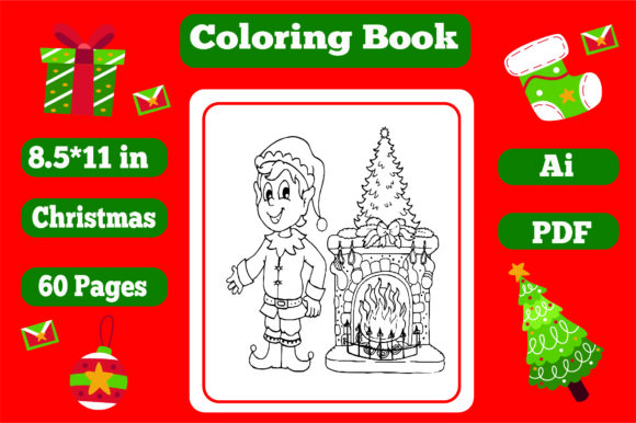 Christmas Coloring Book for Kids 2 - Kdp Graphic Download