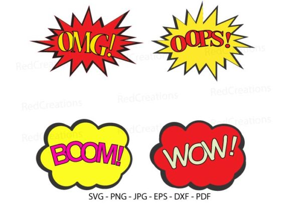 Comic Quotes Pop Art Style, Comic Symbol Graphic Illustrations By RedCreations