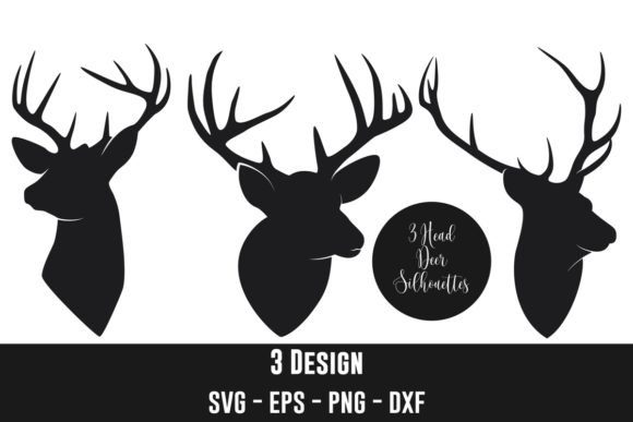 Deer Head Silhouettes Clip Art Graphic Crafts By zhyecarther
