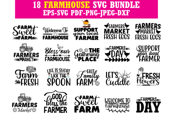 Print on Demand: FARMHOUSE SVG BUNDLE Graphic Crafts By Graphics Home.net