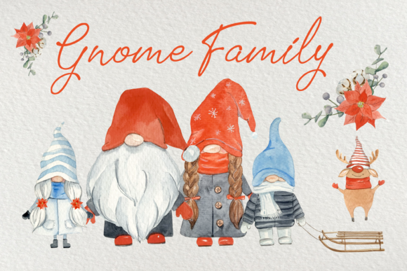 Gnome Family Watercolor Clip Art Set Graphic Illustrations By tatibordiu