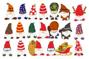 Print on Demand: Gnomes in Winter Watercolor Clip Art Set Graphic Crafts By Arief Sapta Adjie