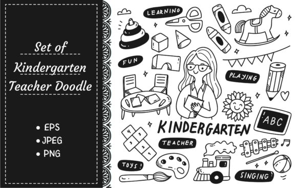 Kindergarten Teacher and Toys Doodle Graphic Illustrations By Big Barn Doodles