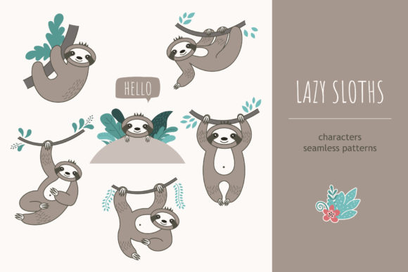 Lazy Sloths Graphic Objects By alonasavchuk84