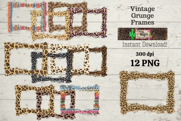 Print on Demand: Leopard Frame Grunge Dye Sub Graphic Backgrounds By Crazy Heifer Design Shoppe