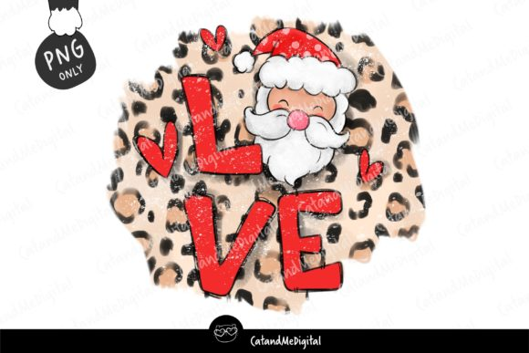 Love Christmas Santa Leopard PNG. Graphic Illustrations By CatAndMe