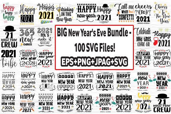 Print on Demand: New Year's Eve Bundle 100 Design Graphic Crafts By svg.in.design