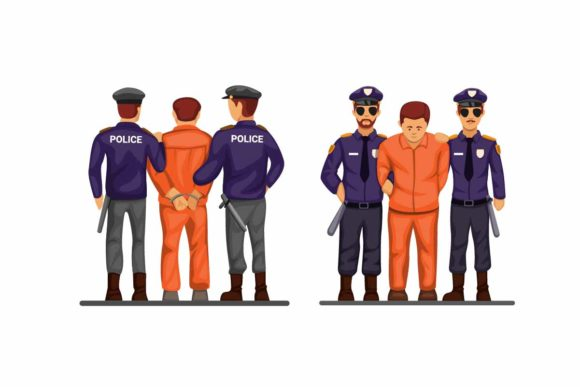 Print on Demand: Police Handcuff Criminal Man Set Vector Graphic Illustrations By aryo.hadi