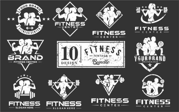 Print on Demand: Set of Fitness Logo Silhouette Vintage Graphic Logos By blueberry 99d