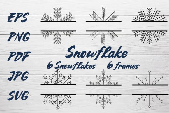 Snowflake and Frames Collection Graphic Illustrations By sombrecanari